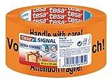 tesa Packband, Warnband,'Vorsicht! Zerbrechlich', beste tesa PVC Qualität, orange, 66m x 50mm
