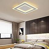 XGFYW LED Deckenleuchte Weiß Metall Quadratisches Design Dimmbar Fernbedienung Decken Lampe Modern Einfach Deckenlampe Bürodeckenleuchten Schlafzimmerlampe Badlampe,3000-6000K,40 * 40CM