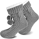 Damen Socken mit ABS Sohle Innenfell Extra dicke Haussocken Anti Rutsch Sohle Farbe Grau Größe 40/44