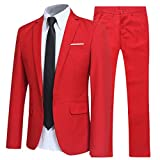 Allthemen Herren 2-Teilig Slim FIT Business Anzug Rot Medium