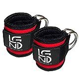 Legend Fußschlaufen (gepolstert) (2Stück) - für Fitness Training am Kabelzug - Ankle Straps - Beintraining am Kabelzug - Seilzug - Bein Po (rot)