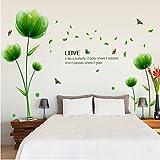 ufengke Schöne Grüne Blumen Wandsticker, Wohnzimmer Schlafzimmer Entfernbare Wandtattoos Wandbilder