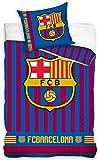 BERONAGE Wende-Bettwäsche FC Barcelona Bordeaux/blau 100% Baumwolle - Linon/Renforcé - Fußball-Bettzeug - Primera Division Bettbezug Fan-Bettwäsche Fussball-Bettwäsche Camp NOU deutsche Größe 0334