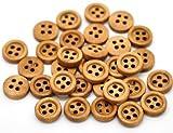 SiAura Material - 20 Stück Knöpfe aus Holz zum nähen und basteln, Kaffeebraun, 4 Löcher, 11mm