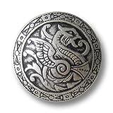 Knopfparadies (0331as) - 8er Set Umwerfend schöne Metallknöpfe mit Drachen Muster, Altsilber (geschwärzt), gewölbt mit mittelalterlich wirkendem Muster/Durchmesser: ca. 21mm