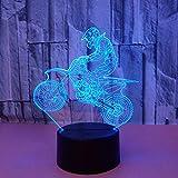 Nachtlicht, USB Netzteil Touch Bunte Farbe Augenschutz Kinderspielzeug Home Acryl Motorrad 3D-Lampe