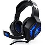 CSL - Gaming Headset für PC | inkl. Mikrofon / Kopfhörer | USB Gamer Headphone | Kabelfernbedienung / externe Soundkarte | Für Gaming, Musik, Chat, Internet-Telefonie, Filme | Für PC sowie PS4 | schwarz/blau