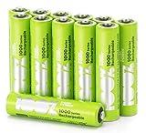 100% PeakPower Akkus AAA/Micro Serie 1000, NiMH, 12 Stück Akku-Batterien wiederaufladbar ohne Memory-Effekt, 1,2 Volt (1,2V), LSD Technologie, Ready-to-Use