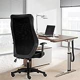 Afanyu Afanyu Bürodrehstuhl, ergonomisches Design, Leder-Sitzkissen + atmungsaktive Netzrückenlehne, mit Armlehnen und Rückenstütze (schwarz)