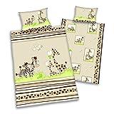 3 tlg. Baby Bettwäsche Wende Motiv: Zebra und Giraffe - Renforcé 100x135 cm + 40x60 cm + 1 Spannbettlaken in weiß 70x140 cm