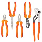 FIXKIT FKS005 5-teiliges Zangen-Set (6-Zoll-Gleitgelenk, 7-Zoll-Linienrichter, 6-Zoll-Langnase, 6-Zoll-Diagonale, 8-Zoll-Nut-Gelenk), Orange - Rot