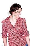 Nübler Trachtenbluse Mariandl Rot-Weiß, Gr. 52, Karo-Muster, Figurumspielend, V-Ausschnitt, ¾ Arm, Crushed-Look, Große Größen