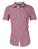 KoJooin Trachten Herren Hemd Trachtenhemd Langarmhemd Freizeithemd Baumwolle - für Oktoberfest, Business, Freizeit (M / 36, Rot1)