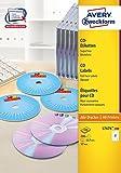 AVERY Zweckform L7676-100 CD-Etiketten (A4, 200 Stück, Ø 117 mm, 100 Blatt) weiß