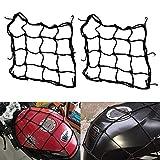 ZHIXX MALL 2PCS Motorrad Gepäcknetz Fahrrad Netz Helmnetz mit 6 Befestigungshaken,Gummizug Dehnbar für Motorrad, Fahrrad- 26x26 cm