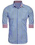 Burlady Herren Hemd Kariert Regular Fit Trachtenhemd Bügelleicht Freizeithemd Hemd Männer (L, 46-Blau)