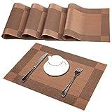 Platzsets (4er Set), Rutschfest Abwaschbar Tischsets, PVC Abgrifffeste Hitzebeständig Platzdeckchen, Schmutzabweisend und Waschbare, Platz-Matten für küche Speisetisch, Braun 30x45cm