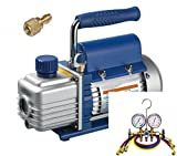 Kälte - Klima - Set TÜV Vakuumpumpe + Monteurhilfe + Schläuche, 51 - 57lt., R134a R407c R410a
