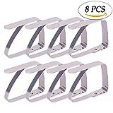 Blooven 8 Stück Tischtuchklammern Edelstahl Tischabdeckungsklemmen Tischdecke Clips Tischtuch Clips - Silber