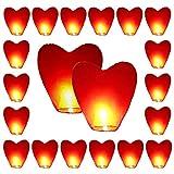 20 x rotes Herz umweltfreundliche Himmelslaternen für Weihnachten, Neujahr, Chinesisches Neujahr, Silvester, Hochzeiten & Partys