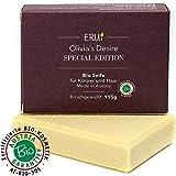 *NEU* ERUi Nachhaltige 100% Bio Olivenölseife naturrein - Speziell für Körper und Haare - Handgemachte reine Oliven-Seife - Natürliche Naturseife vegan, ohne Palmöl & Plastik (1 x 115g)