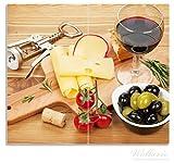 Wallario Herdabdeckplatte / Spritzschutz aus Glas, 2-teilig, 60x52cm, für Ceran- und Induktionsherde, Genuss am Abend - Rotwein, Käseplatte, Oliven und Tomaten