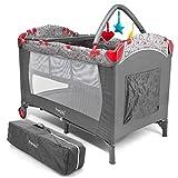Froggy Kinderreisebett Babybett mit Schlafunterlage, Matratze, Wickelauflage, Spielbogen, Transporttasche, höhenverstellbar, 120 x 60 cm in Grau