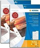 Herma 7585 Fotophan Fotohüllen (für 80 Fotos im Format 10x15cm, 10 Sichthüllen) mit Beschriftungsetik., für gängige Ordner u. Ringbücher (2, Fotosichthüllen 10 x 15 cm)