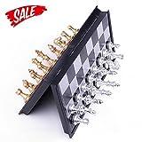 Schach - Hoshin Tragbares Classic Faltbares Reise Magnetisches schachspiele mit Aluminiumbeschichtung, 25 x 25 x 2 cm