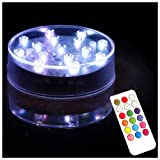 Lacgo Halloween Weihnachten 10,2 cm Runde RGB LED Plattenbeleuchtung mit 18 Schlüssel-Fernbedienung, LED-Licht mit 15 super hellen LEDs für Vasen Tischdekoration (1 Stück)