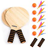 Overmont Spiel Set Racket Strandball Badminton Federball Schläger Cricket Ball und Familie Training Kinder Büro Outdoor Sport
