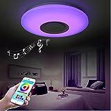 HOREVO 24W Ø40CM RGB LED Deckenleuchte mit Bluetooth Lautsprecher Smart Home Lampe 6500K 1800LM Dimmbar LED Smart Musik Deckenlampe, Deckenbeleuchtungt Warm Weiß/Kaltweiße