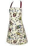Originelle Küchen-Serie ' Vergnügte Eulen ' - zur Auswahl : Topflappen oder Backhandschuhe , wunderschönes farbenfrohes Eulen - Motiv - hochwertig , mit Baumwolle , eine schöne kleine Geschenk - Idee - ein MUSS für alle Eulen-Fans - NEU aus dem KAMACA-SHOP (1 x Schürze)
