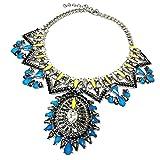 MagiDeal Damen Boho Statement Kette Multi-layers Kristall Anhänger Halskette Modeschmuck Statementkette