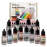 Lebensmittelfarbe flüssig Set 12x 10ml Lebensmittelfarben,Farbe Farbstoff extrem hoch konzentriert,Set zum Geeignet für Kuchen,Backen und alle Lebensmittelfärbungen