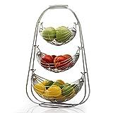 Taylor & Braun Verchromte schaukelnde Obst-Hängematte Gemüseschüssel Korb Rack Aufbewahrung Ständer Halter Neu, chrom, 3 Ablagefächer