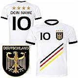 Deutschland Trikot mit GRATIS Wunschname + Nummer + Wappen Typ #D 2018 günstig im EM / WM weiss - Geschenke für Kinder,Jungen,Baby,.. Fußball T-Shirt personalisiert als Weihnachtsgeschenk