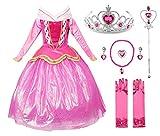 JerrisApparel Rosa Prinzessin Aurora Kleid Kostüm Mädchen Party Kleid (120cm, Rosa mit Zubehör)