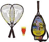 Talbot-Torro Speed-Badminton Set Speed 4400, 2 handliche Alu-Rackets 54,5cm, 3 windstabile Federbälle, im 3/4 Bag, gelb-schwarz, 490114