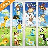 Wimaha Fenstersticker Tiere Fensterfolien Fensterdeko Fensterbilder für Wohnzimmer Schlafzimmer Kinderzimmer,30x40cm