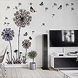 WandSticker4U- XL Wandtattoo 'Pusteblumen' schwarz | Wandbild: 165X130 cm | Wandsticker Löwenzahn Blumen Schmetterlinge Pflanzen Aufkleber-Wand-Deko für Wohnzimmer, Garderobe, Flur, Fenster