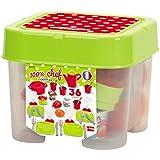 Puppenservice Box mit Gedeck, Becher, Gläser, Teller, Besteck etc. - Picknick Geschirr Set Kinder Spiel Küche Kaufladen Zubehör Spielzeug Puppengeschirr