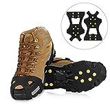 Schuhspikes , synmixx Schuhkrallen Traktion Anti-Rutsch Sohlen mit 10 Silikon Schuh Spikes für High Altitude Wandern EIS Schnee Unisex (1 paar)