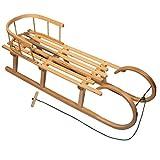 BAMBINIWELT Holzschlitten/Hörnerrodel mit RÜCKENLEHNE und Zugleine, aus Buchenholz, Kinderschlitten, 120cm