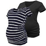 Joweechy Damen Umstands-T-Shirt, V-Ausschnitt, Kurze Ärmel, Schwangerschafts-Tunika, Tops mit seitlichen Rüschen Gr. 40 DE(X-Large), Black/Blue White Stripe#Shirt