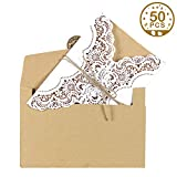 Aparty4u 50 Hochzeitseinladungen Karten Kits – Vintage Umschläge mit'Thank You'-Aufkleber, Abend-Einladungskarten für Hochzeit, Jahrestag, Geburtstag, Abschlussfeier