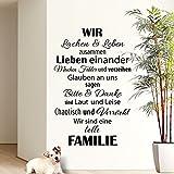 Wandaro W3301 Wandtattoo Spruch Wir sind eine tolle Familie... I schwarz 58x90cm I Flur Diele Wohnzimmer Aufkleber selbstklebend Wandaufkleber Wandsticker
