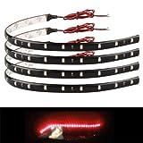 Zimo 4 x 30cm 15 LED Lichterkette Strips Leiste Streifen Lichtband Beleuchtung Auto Motorrad KFZ 12V wasserdicht rot Licht