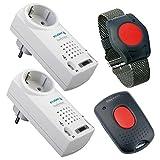 Pflegeruf-Set/Hausnotruf/Senioren-Hausalarm/Senioren-Sicherheitspaket 5 PLUS- (Armbandsender, 2 Empfänger mit Quittierungsfunktion, Quittierungs-Sender)