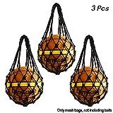 3 Stück Robust Ballnetz 1 Ball, Multifunktionale Balltragenetz passend für verschiedene Ballgrößen [Fußball - Volleyball - Basketball - Medizinball] - Leicht und Bequem (Schwarz)